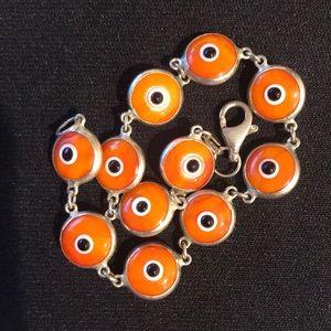 "Sterling Silver ""Evil Eye"" Bracelet Orange & Blue"